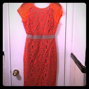 BCBGMaxAzria coral lace dress